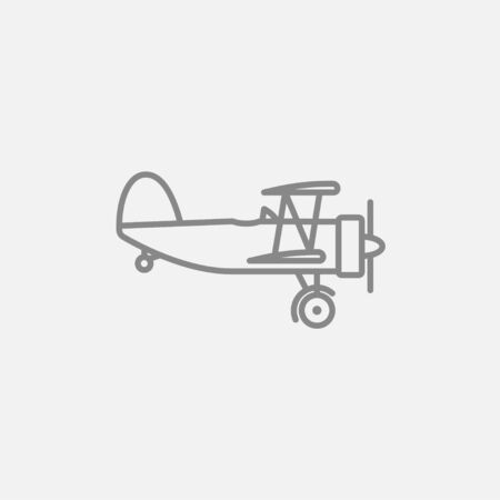 Propeller plane  line icon for web, mobile and infographics. Vector dark grey icon isolated on light grey background. Ilustração