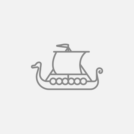tall ship: Old ship line icon for web, mobile and infographics. Vector dark grey icon isolated on light grey background.