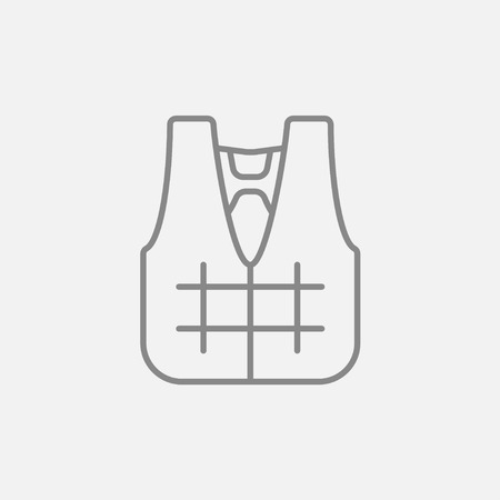 vest in isolated: Life vest line icon for web, mobile and infographics. Vector dark grey icon isolated on light grey background. Illustration