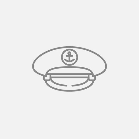 captain cap: Captain peaked cap line icon for web, mobile and infographics. Vector dark grey icon isolated on light grey background.