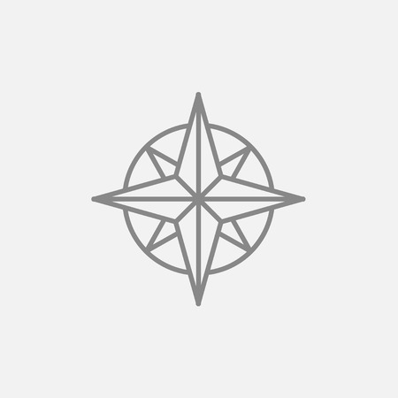 compass rose: Compass wind rose line icon for web, mobile and infographics. Vector dark grey icon isolated on light grey background.