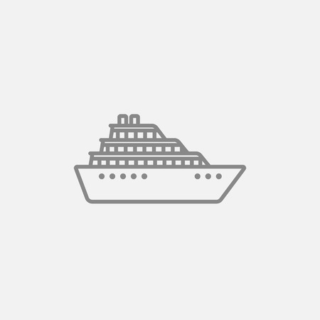 Cruise ship line icon for web, mobile and infographics. Vector dark grey icon isolated on light grey background.