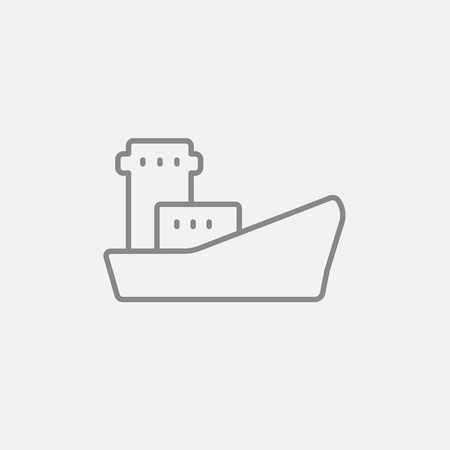 loading dock: Cargo container ship line icon for web, mobile and infographics. Vector dark grey icon isolated on light grey background. Illustration