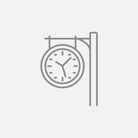 Train station clock line icon for web, mobile and infographics. Vector dark grey icon isolated on light grey background.