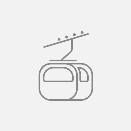 rope way: Funicular line icon for web, mobile and infographics. Vector dark grey icon isolated on light grey background.
