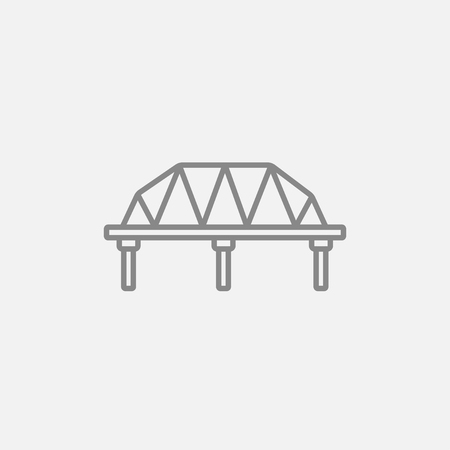 steel bridge: Rail way bridge line icon for web, mobile and infographics. Vector dark grey icon isolated on light grey background.