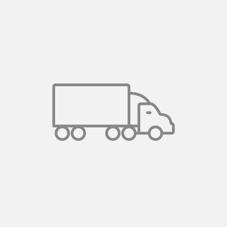 Delivery truck line icon for web, mobile and infographics. Vector dark grey icon isolated on light grey background. Illustration
