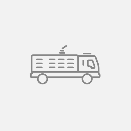 camion: Fire truck line icon for web, mobile and infographics. Vector dark grey icon isolated on light grey background. Illustration