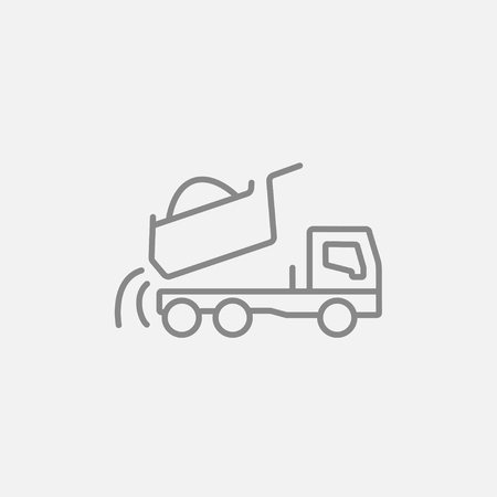 quicksand: Dump truck line icon for web, mobile and infographics. Vector dark grey icon isolated on light grey background. Illustration