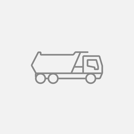 Dump truck line icon for web, mobile and infographics. Vector dark grey icon isolated on light grey background. Illustration