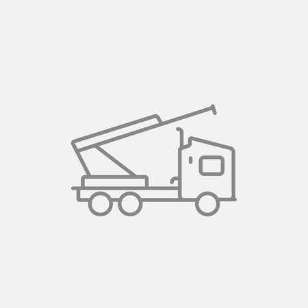 Machine with a crane and cradles line icon for web, mobile and infographics. Vector dark grey icon isolated on light grey background.