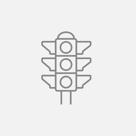 Traffic light line icon for web, mobile and infographics. Vector dark grey icon isolated on light grey background.