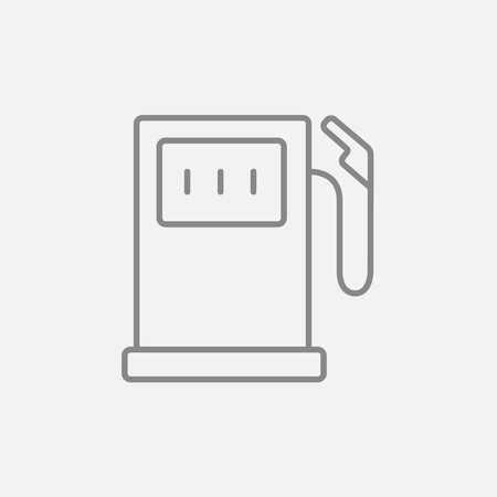 fillup: Gas station line icon for web, mobile and infographics. Vector dark grey icon isolated on light grey background.