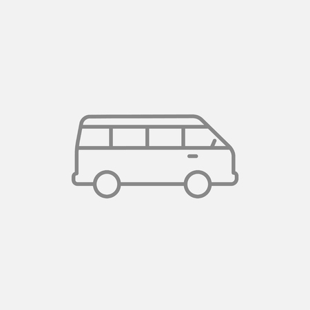 omnibus: Minibus line icon for web, mobile and infographics. Vector dark grey icon isolated on light grey background.