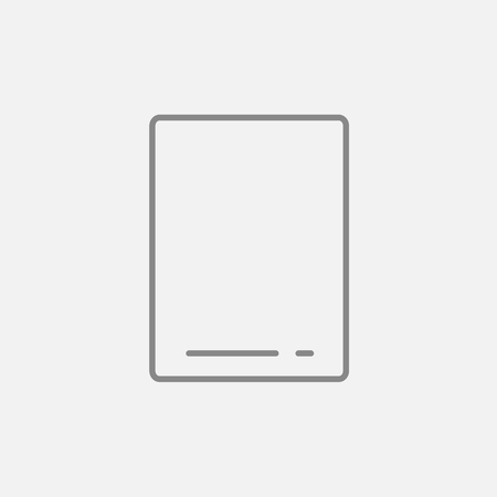 touchpad: Touch screen tablet line icon for web, mobile and infographics. Vector dark grey icon isolated on light grey background. Illustration
