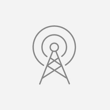Antenna line icon for web, mobile and infographics. Vector dark grey icon isolated on light grey background.