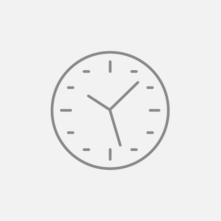 Wall clock line icon for web, mobile and infographics. Vector dark grey icon isolated on light grey background.