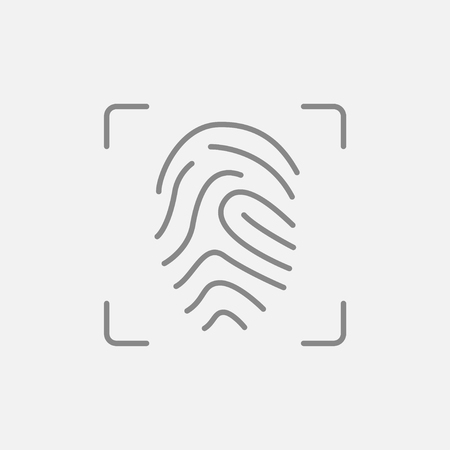 scanning: Fingerprint scanning line icon for web, mobile and infographics. Vector dark grey icon isolated on light grey background.