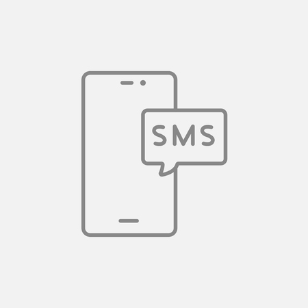 smartphone icon: Smartphone with message line icon for web, mobile and infographics. Vector dark grey icon isolated on light grey background. Illustration