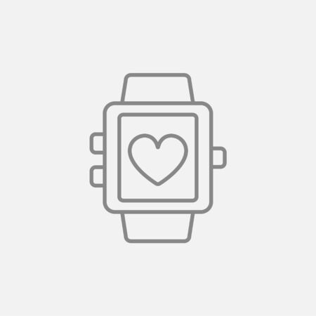grey line: Smartwatch with heart sign line icon for web, mobile and infographics. Vector dark grey icon isolated on light grey background.
