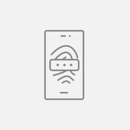 fingermark: Mobile phone scanning a fingerprint line icon for web, mobile and infographics. Vector dark grey icon isolated on light grey background. Illustration