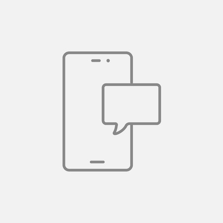 touch screen phone: Touch screen phone with message line icon for web, mobile and infographics. Vector dark grey icon isolated on light grey background.