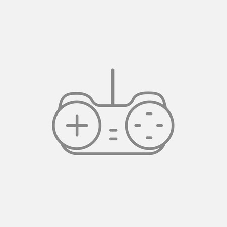 Joystick line icon for web, mobile and infographics. Vector dark grey icon isolated on light grey background.