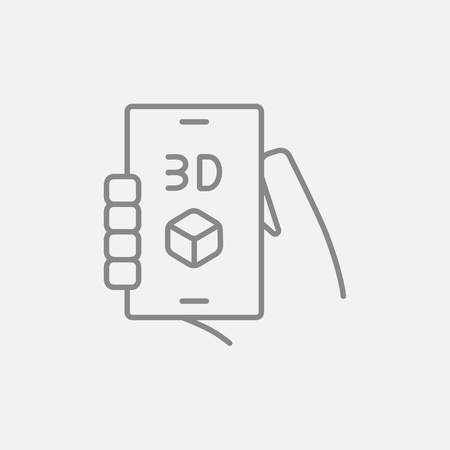 three d: Smartphone with three D box line icon for web, mobile and infographics. Vector dark grey icon isolated on light grey background. Illustration