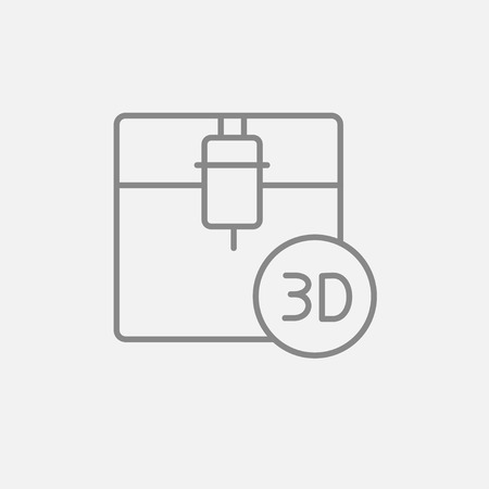 polymerization: Tree D printing line icon for web, mobile and infographics. Vector dark grey icon isolated on light grey background. Illustration