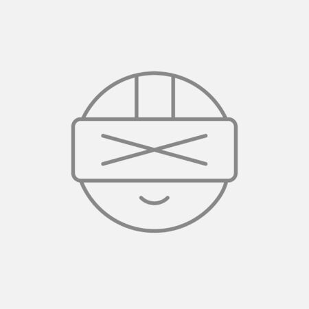Man wearing virtual reality headset line icon for web, mobile and infographics. Vector dark grey icon isolated on light grey background. Illustration