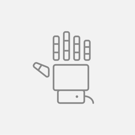 Robot hand line icon for web, mobile and infographics. Vector dark grey icon isolated on light grey background.