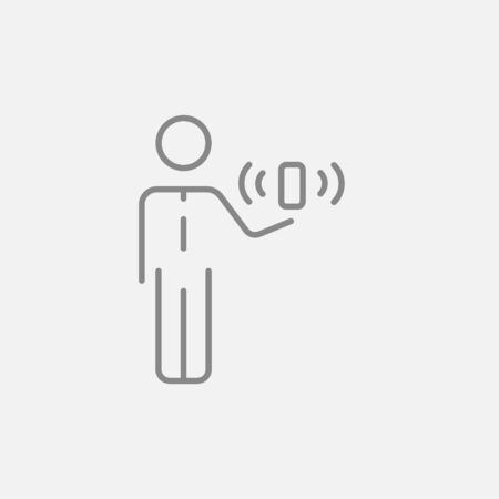 wireless signal: Mobility line icon for web, mobile and infographics. Vector dark grey icon isolated on light grey background.