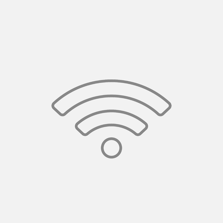 Wifi sign line icon for web, mobile and infographics. Vector dark grey icon isolated on light grey background. Illustration