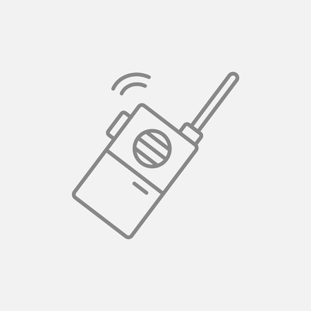 transmit: Portable radio set line icon for web, mobile and infographics. Vector dark grey icon isolated on light grey background.