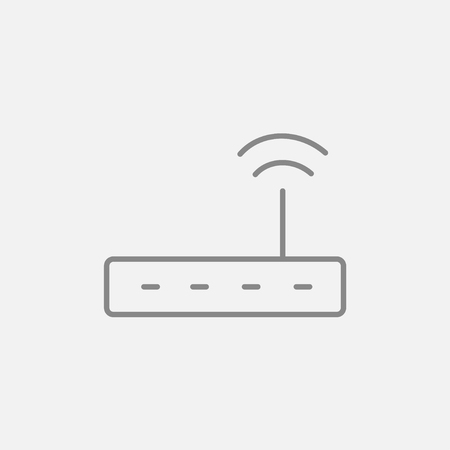 wireless icon: Wireless router line icon for web, mobile and infographics. Vector dark grey icon isolated on light grey background.