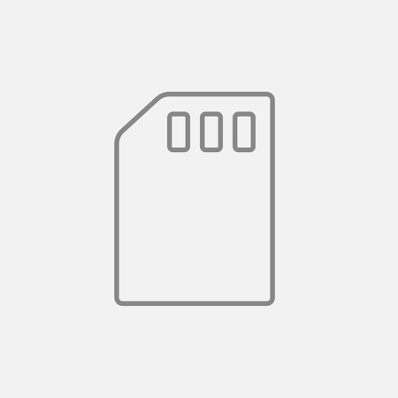 sim card: Sim card line icon for web, mobile and infographics. Vector dark grey icon isolated on light grey background.