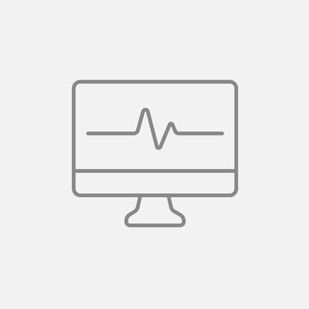 heart monitor: Heart beat monitor line icon for web, mobile and infographics. Vector dark grey icon isolated on light grey background.