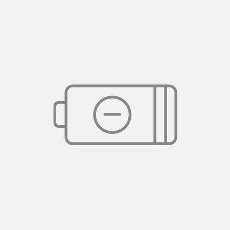 telephone pole: Low power battery line icon for web, mobile and infographics. Vector dark grey icon isolated on light grey background. Illustration