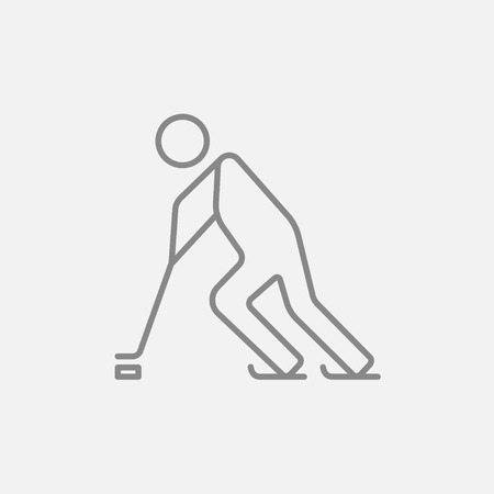 skating on thin ice: Hockey player line icon for web, mobile and infographics. Vector dark grey icon isolated on light grey background.