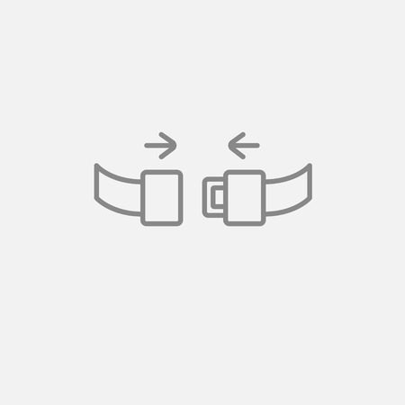 seat belt: Seat belt line icon for web, mobile and infographics. Vector dark grey icon isolated on light grey background.