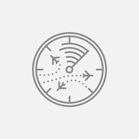 blip: Radar screen with planes line icon for web, mobile and infographics. Vector dark grey icon isolated on light grey background. Illustration