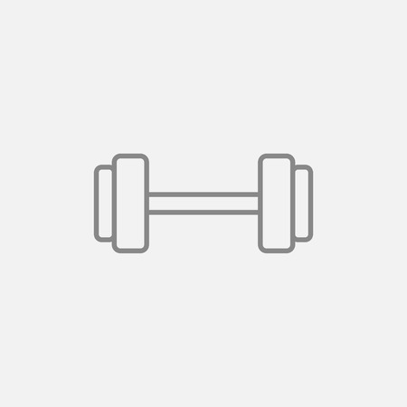 Dumbbell line icon for web, mobile and infographics. Vector dark grey icon isolated on light grey background.