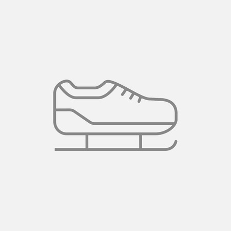 Skate line icon for web, mobile and infographics. Vector dark grey icon isolated on light grey background.