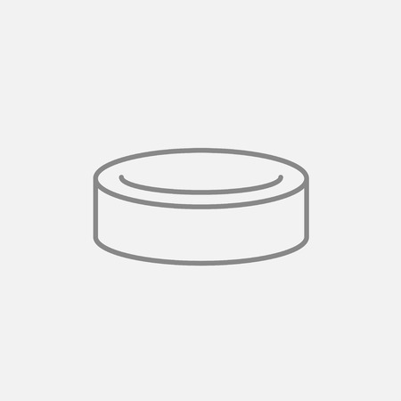 skating on thin ice: Hockey puck line icon for web, mobile and infographics. Vector dark grey icon isolated on light grey background.