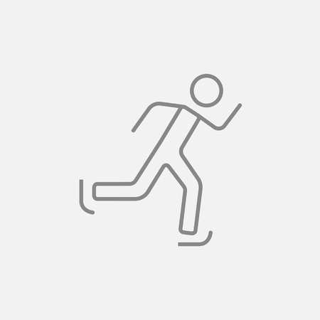 skating on thin ice: Speed skating line icon for web, mobile and infographics. Vector dark grey icon isolated on light grey background. Illustration