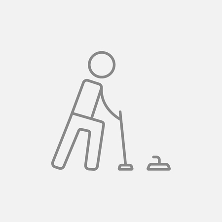 Curling line icon for web, mobile and infographics. Vector dark grey icon isolated on light grey background.
