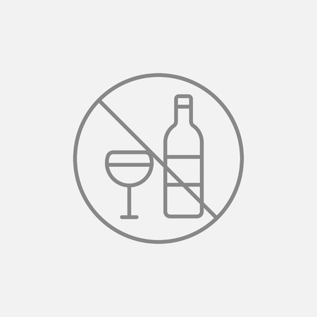 spirituous beverages: No alcohol sign line icon for web, mobile and infographics. Vector dark grey icon isolated on light grey background.