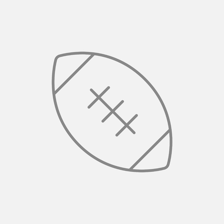 Rugby football ball line icon for web, mobile and infographics. Vector dark grey icon isolated on light grey background.