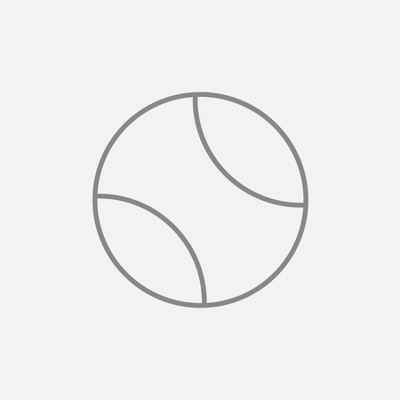 tenis: Tennis ball line icon for web, mobile and infographics. Vector dark grey icon isolated on light grey background. Illustration