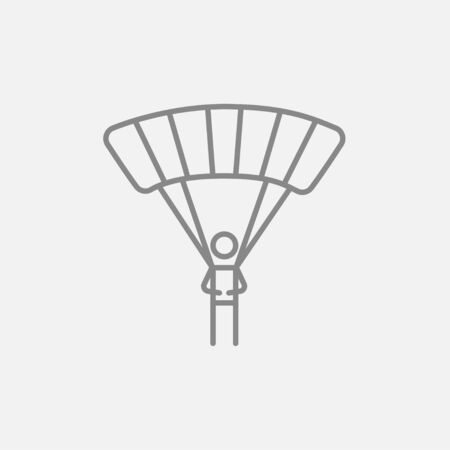 airplay: Skydiving line icon for web, mobile and infographics. Vector dark grey icon isolated on light grey background.
